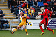 David Pipe of Newport County puts in a cross during the EFL Sky Bet League 2 match between Newport County and Crawley Town at Rodney Parade, Newport, Wales on 1 April 2017. Photo by Andrew Lewis.