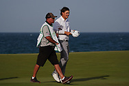 Sami Valimaki (FIN) makes a birdie putt on the 18th to bring it to a Play Off during Round 4 of the Oman Open 2020 at the Al Mouj Golf Club, Muscat, Oman . 01/03/2020<br /> Picture: Golffile   Thos Caffrey<br /> <br /> <br /> All photo usage must carry mandatory copyright credit (© Golffile   Thos Caffrey)