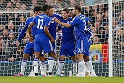 Chelsea players celebrate after Eden Hazard scores a goal to make it 1-0 - Photo mandatory by-line: Rogan Thomson/JMP - 07966 386802 - 13/12/2014 - SPORT - FOOTBALL - London, England - Stamford Bridge - Chelsea v Hull City - Barclays Premier League.