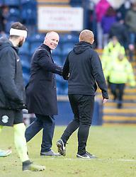 Raith Rovers manager John Hughes and Hibernian's manager Neil Lennon at the end. Raith Rovers 1 v 1 Hibernian, Scottish Championship game played 18/2/2017 at Starks Park.