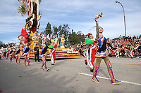 Chinese Dancers and Rose Float Representing the Beijing China Olympics at the 2008 Tournament of Roses Parade, Pasadena, California