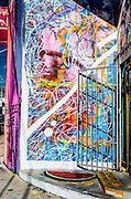 Murals cover the entrance to a shoe warehouse in Miami's rapidly redeveloping Wynwood art district