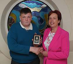 Sancta Maria College Awards 2018<br /> Literacy Award was presented to Cormac Needham by Principal Pauline Moran.<br /> Pic Conor McKeown