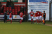 Perry Ng celebrates the winning goal   during the EFL Sky Bet League 2 match between Crewe Alexandra and Cheltenham Town at Alexandra Stadium, Crewe, England on 18 January 2020.