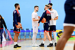 Lewis Champion of Bristol Flyers and Jordan Nicholls of Bristol Flyers warms up prior to tip off - Photo mandatory by-line: Ryan Hiscott/JMP - 17/01/2020 - BASKETBALL - SGS Wise Arena - Bristol, England - Bristol Flyers v London City Royals - British Basketball League Championship