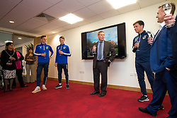 Tom Lockyer, Ollie Clarke and Manager Darrell Clarke of Bristol Rovers attend an official opening of the new offices of away shirt sponser Powersystems - Rogan Thomson/JMP - 29/09/2016 - FOOTBALL - Powersystems, Yate - Bristol, England.