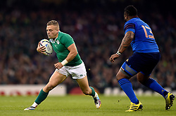 Ian Madigan of Ireland in possession - Mandatory byline: Patrick Khachfe/JMP - 07966 386802 - 11/10/2015 - RUGBY UNION - Millennium Stadium - Cardiff, Wales - France v Ireland - Rugby World Cup 2015 Pool D.