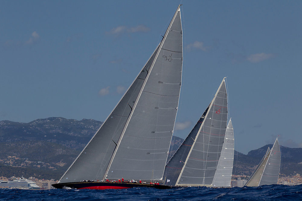 SPAIN, Palma. 19th June 2013. Superyacht Cup. J Class. Race One. L-R, Rainbow, Velsheda, Hanuman, Lionheart, Ranger.