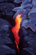 Pahoehoe Lava, Kilauea Volcano, Hawaii Volcanoes National Park, Island of Hawaii, Hawaii, USA<br />
