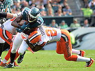 Philadelphia Eagles Nelson Agholor runs after catching a tipped pass and is tackled by Cleveland Browns Jamar Taylor in the fourth quarter Sunday, September 11, 2016 at Lincoln Financial Field in Philadelphia, Pennsylvania.  (Photo by William Thomas Cain)