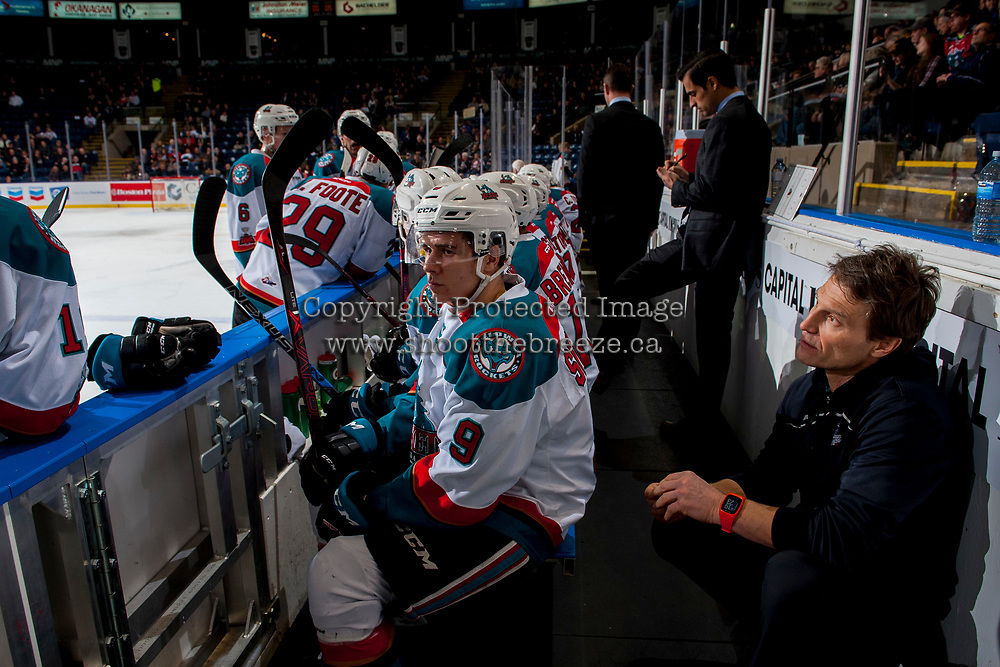 KELOWNA, CANADA - JANUARY 30: Marek Skvrne #9 of the Kelowna Rockets sits on the bench against the Medicine Hat Tigers on January 30, 2017 at Prospera Place in Kelowna, British Columbia, Canada.  (Photo by Marissa Baecker/Shoot the Breeze)  *** Local Caption ***