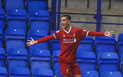 BIRKENHEAD, ENGLAND - Sunday, September 10, 2017: Liverpool's substitute Yan Dhanda celebrates scoring the winning goal in the 89th minute to seal a 1-0 victory during the Under-23 FA Premier League 2 Division 1 match between Liverpool and Manchester City at Prenton Park. (Pic by David Rawcliffe/Propaganda)