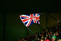 LIVERPOOL, ENGLAND - Tuesday, December 11, 2018: A Liverpool supporter waves a Union Jack flag on the Spion Kop during the UEFA Champions League Group C match between Liverpool FC and SSC Napoli at Anfield. (Pic by David Rawcliffe/Propaganda)