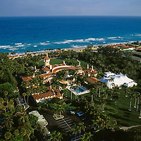 Aerial of the Donald Trump estate Mar-a-Lago Club in Palm Beach Florida.