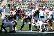 Los Angeles Chargers offensive guard Kenny Wiggins (79) gets set for the snap during the 2017 NFL week 1 preseason football game against the Seattle Seahawks, Sunday, Aug. 13, 2017 in Carson, Calif. The Seahawks won the game 48-17. (©Paul Anthony Spinelli)