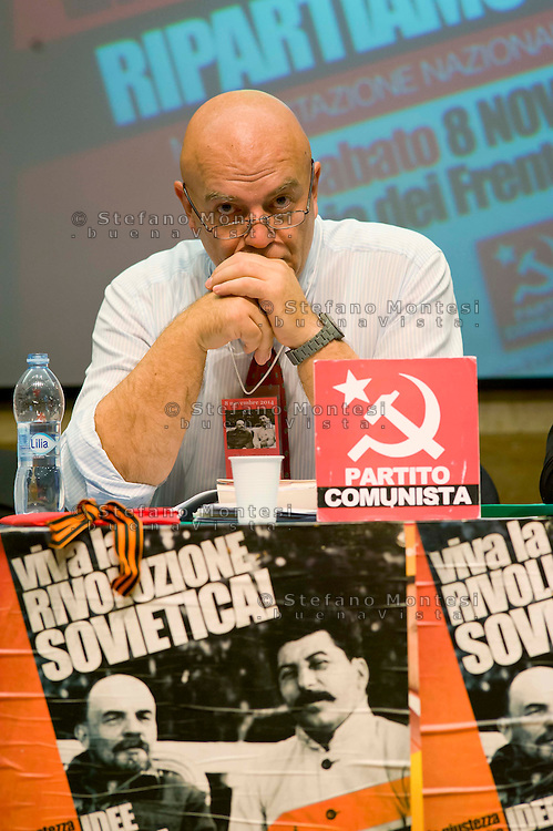 "Roma 8 Novembre 2014<br /> Manifestazione internazionale  Viva La Rivoluzione Sovietica, organizzata dal Partito Comunista per ribadire la giustezza delle idee che portarono alla rivoluzione bolscevica in Russia, della quale ricorre il 97° anniversario e per celebrare la grande storia del comunismo. Nella foto: Marco Rizzo , segretario generale del Partito Comunista<br /> Rome November 8, 2014<br /> Event International ""Viva La Revolution Soviet"" organized by the Communist Party to reaffirm the correctness of the ideas that led to the Bolshevik revolution in Russia, which is celebrating the 97th anniversary and to celebrate the great history of communism. Pictured: Marco Rizzo, general secretary of the Communist Party"
