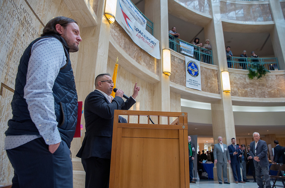 em020818e/a/New Mexico Education Secretary-designate Christopher Ruszkowski, left, and Ramon Montano, president of New Mexico School Boards Association, speak during Public Schools Day at the Legislature in the Rotunda of the State Capitol in Santa Fe, Thursday February 8, 2018.  (Eddie Moore/Albuquerque Journal)