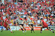 Dan Carter sets to pass to an inside runner ~ Super 15 rugby (Round 15) - Reds v Crusaders played at Suncorp Stadium, Brisbane, Australia on Sunday 29th May 2011 ~ Photo : Steven Hight (AURA Images) / Photosport