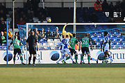 Scunthorpe United Jordan Clarke (2) tips the ball onto the bar during the EFL Sky Bet League 1 match between Bristol Rovers and Scunthorpe United at the Memorial Stadium, Bristol, England on 24 February 2018. Picture by Gary Learmonth.