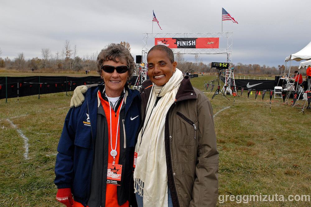 Ilene Canning and Joy Kamani. 2010 Nike Cross Northwest Regional XC Championships at Eagle Island State Park on November 13, 2010.