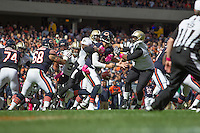 06 October 2013: Quarterback (6) Jay Cutlet of the Chicago Bears has the ball knocked out his hand by (27) Malcolm Jenkins of the New Orleans Saints and fumbles during the first half of the Saints 26-18 victory over the Bears in an NFL Game at Soldier Field in Chicago, IL.