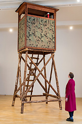 © Licensed to London News Pictures. 13/02/2018. London, UK. Art installation titled  Hunting Blinds, 2008 by American artist MARK DION featuring live birds. The artwork is part of his first retrospective 'Mark Dion: Theatre of the Natural World showing at the Whitechapel Gallery. Photo credit: Ray Tang/LNP