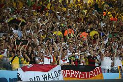 08.07.2014, Mineirao, Belo Horizonte, BRA, FIFA WM, Brasilien vs Deutschland, Halbfinale, im Bild Jubel bei den deutschen Fans nach dem historischen Sieg gegen Brasilien // during Semi Final match between Brasil and Germany of the FIFA Worldcup Brazil 2014 at the Mineirao in Belo Horizonte, Brazil on 2014/07/08. EXPA Pictures © 2014, PhotoCredit: EXPA/ Eibner-Pressefoto/ Cezaro<br /> <br /> *****ATTENTION - OUT of GER*****