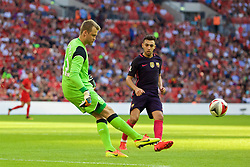 LONDON, ENGLAND - Saturday, August 6, 2016: Liverpool's goalkeeper Simon Mignolet in action against Barcelona during the International Champions Cup match at Wembley Stadium. (Pic by Xiaoxuan Lin/Propaganda)