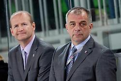 Nik Zupancic, assistant coach, and Matjaz Kopitar, head coach, during ice-hockey match between Austria and Slovenia at IIHF World Championship DIV. I Group A Slovenia 2012, on April 21, 2012 at SRC Stozice, Ljubljana, Slovenia. (Photo By Matic Klansek Velej / Sportida.com)