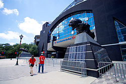 CHARLOTTE, USA - Saturday, July 21, 2018: A statue of a snarling panther outside one of the entrances to the Bank of America Stadium ahead of a preseason International Champions Cup match between Borussia Dortmund and Liverpool FC. (Pic by David Rawcliffe/Propaganda)
