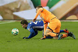 GELSENKIRCHEN, Feb. 18, 2018  Hoffenheim's Pavel Kaderabek (R) and Schalke's Marko Pjaca vie for the ball during the German Bundesliga soccer match between FC Schalke 04 and Hoffenheim, in Gelsenkirchen, western Germany, on Feb. 17, 2018. Schalke won 2-1. (Credit Image: © Joachim Bywaletz/Xinhua via ZUMA Wire)