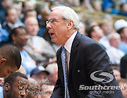 UNC Head coach Roy Williams reacts to a call on the court. Duke beats UNC 79-73 at Cameron Indoor Stadium Durham NC