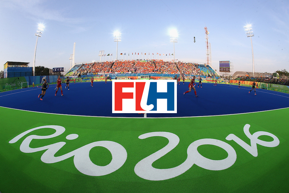 RIO DE JANEIRO, BRAZIL - AUGUST 19:  General view of the stadium as Great Britain play Netherlands during the Women's Gold Medal Match against the Netherlands on Day 14 of the Rio 2016 Olympic Games at the Olympic Hockey Centre on August 19, 2016 in Rio de Janeiro, Brazil.  (Photo by David Rogers/Getty Images)
