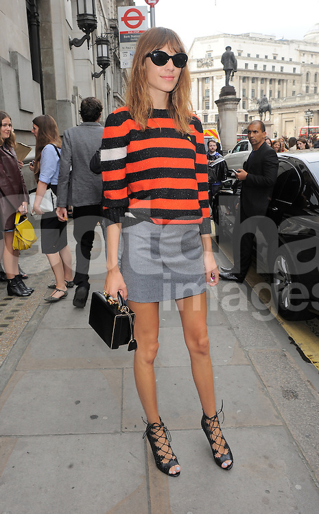 Alexa Chung attends Emilia Wickstead fashion show during London Fashion Spring Summer 2015 in London, UK. 13/09/2014 <br />BYLINE MUST READ : GOTCHAIMAGES.COM<br /><br />Copyright by &copy; Gotcha Images Ltd. All rights reserved.<br />Usage of this image is conditional upon the acceptance <br />of Gotcha Images Ltd, terms and conditions available at<br />www.gotchaimages.com