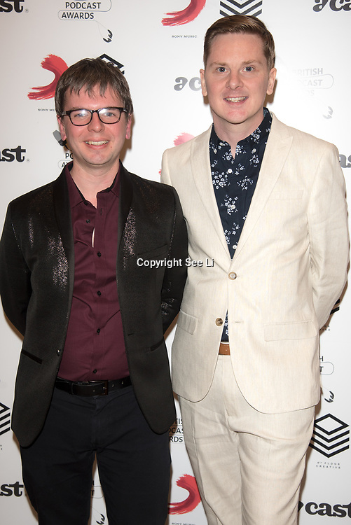 Matt Deegan (R) attend the Annual award ceremony celebrating the best British podcasts. Supported by Sony Music's on 19 May 2018 at King's Place, London, UK.