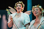 Dress rehearsal of Iolanthe performed by the National Gilbert &amp; Sullivan Opera Company during the <br /> 25th International Gilbert &amp; Sullivan Festival at the Royal Hall Harrogate, North Yorkshire, England on Saturday 18 August 2018 Photo: Jane Stokes<br /> <br /> Director: Cav Vivian Coates<br /> Conductor: James Hendry<br /> Choreographer: Mary MacDonagh<br /> <br /> THE LORD CHANCELLOR/ Richard Gauntlett<br /> EARL OF MOUNTARARAT/Eddie Wade<br /> EARL TOLLOLLER/ Nick Sales<br /> PRIVATE WILLIS/ Matthew Siveter<br /> STREPHON/ Bradley Travis<br /> QUEEN OF THE FAIRIES/Gaynor Keeble<br /> IOLANTHE/Jennifer Parker<br /> CELIA/Stephanie Poropat<br /> LEILA/ Emma Watkinson<br /> FLETA/Alexandra Hazard<br /> PHYLLIS/Rosanna Harris<br /> <br /> THE CHORUS<br /> <br /> Hannah Boxall, Nicole Boardman, Rhiannon Doogan, Joanna Goldspink, Maisy Hepburn, Juliet Montgomery, Julie Power, Eloise Waterhouse<br /> <br /> Andrew Brown, Tom Blackwell, Peter Brooks, Stephen Fawell, Stephen Godward, Matthew Kellett, Michael Vincent Jones, Henry Smith, Jonathan Stevens, Tim Southgate<br /> <br /> TOUR MANAGER/Neil Smith<br /> STAGE MANAGER/Sarah Kent<br /> ASSISTANT STAGE MANAGER/Claire Litton<br /> LIGHTING DESIGN/David Marsden<br /> WARDROBE SUPERVISOR/ Harriet Ravdin<br /> SET DESIGN/ Paul Lazell