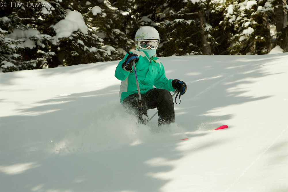 Jessica Laman (age 9) skiing fresh powder snow at Jackson Hole, Wyoming