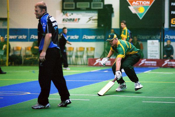 South Africa (batting) vs New Zealand. 2003 World Masters Indoor Cricket championship, Christchurch, New Zealand