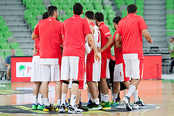 Team of Iran before basketball match in the context of Telemach tournament between National Teams of Slovenia and Iran on August 21, 2014 in SRC Stozice, Ljubljana, Slovenia. Photo by Urban Urbanc / Sportida.com