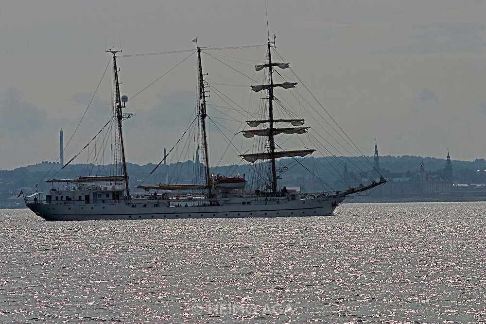 "The ""Lili Marleen"" (luxurious sailing cruise ship of Deilmann cruises) passing between here and Helsingør(Denmark)."