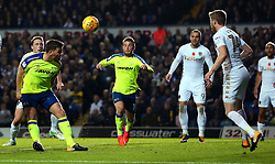 Chris Martin of Derby County heads the ball at goal - Mandatory by-line: Robbie Stephenson/JMP - 31/10/2017 - FOOTBALL - Elland Road - Leeds, England - Leeds United v Derby County - Sky Bet Championship