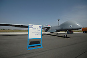 Israel, Tel Nof IAF Base, An Israeli Air force (IAF) exhibition. IAI Heron TP (IAI Eitan) an Unmanned Aerial Vehicle developed by the Malat (UAV) division of Israel Aerospace Industries.