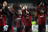Photo: Paul Thomas.<br /> Glasgow Celtic v AC Milan. UEFA Champions League. Last 16, 1st Leg. 20/02/2007.<br /> <br /> Milano players (L-R) Gennaro Gattuso (8), Yoann Gourcuff (20) and Kaka (22) thank their travelling fans... have they done enough with the next leg at home?!