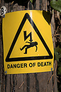 Danger of death from electrocution warning sign