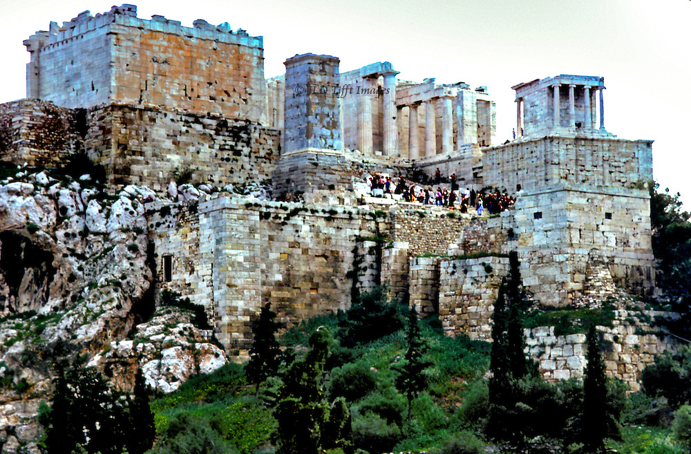 Athens Acropolis repair and restoration 1978:view of the Acropolis from across the valley to the southeast