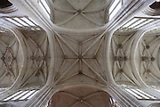 OISE, FRANCE - OCTOBER 26: View from below of the ceiling of the ribbed vault of the Cathedral Notre-Dame de Senlis on October 26, 2008 in Oise, France. The cathedral was built between 1153 and 1191. (Photo by Manuel Cohen)