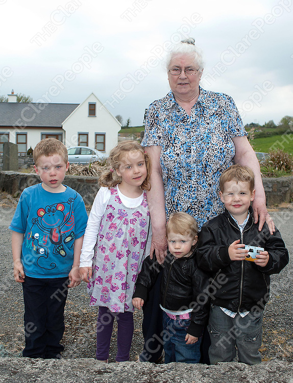 Kathy Moylan with her grankids twins Cian and Leah McMahon (5), Eva Moylan (1) and Sean Moylan (4) at the launching of the Curraghs in Kildysart on Sunday.Pic Press22.