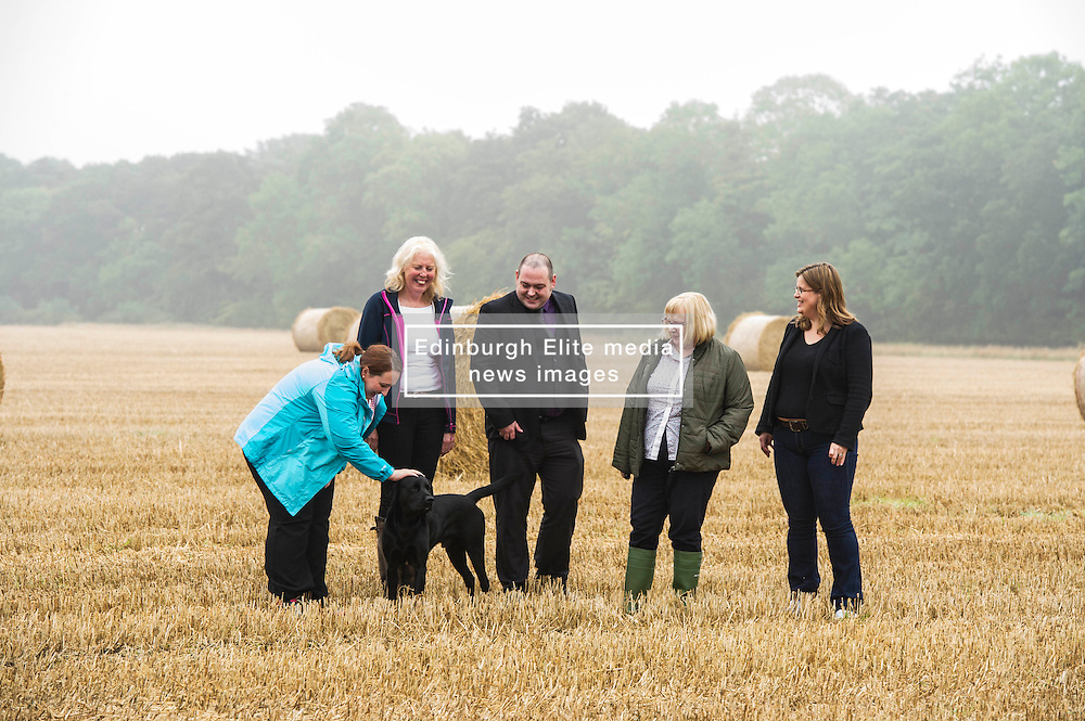 Pictured:  Louise Elder, chair of East Lothian Food and Drinks Bid and owner of Stevenson Mains Farm;  Gemma Slight, East Lothian Council,  John Ferguson, Regeneration Division Scottish Government; Fiona Edgar, Economic Development officer East Lothian Council and member of East Lothian Food and Drinks Bid; and Michelle Ovens, Small Business Saturday;.<br /> Due to traffic problems, Rural Economy Secretary Fergus Ewing MSP could not visit rapeseed oil producer Black and Gold at Stevenson Mains Farm, Haddington, in support the launch of Small Business Saturday 2016, which aims to encourage people to support small firms in the local community. <br /> <br /> <br /> Ger Harley | EEm 15 September 2016