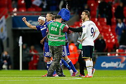 Cesar Azpilicueta of Chelsea and his teammates celebrate at the final whistle after winning the Capital One Cup Final - Photo mandatory by-line: Rogan Thomson/JMP - 07966 386802 - 01/03/2015 - SPORT - FOOTBALL - London, England - Wembley Stadium - Chelsea v Tottenham Hotspur - Capital One Cup Final.