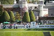 Advertising boards on the tee 1st with the clubhouse<br /> BMW PGA 2019, Wentworth West GC, Surrey, UK, September 2019